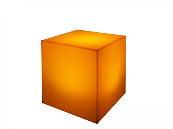 Orange | LED Cube Ottoman -- Trade Show Furniture Rental