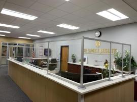 Custom Reception Desk Safety Dividers with Engineered Aluminum and Acrylic